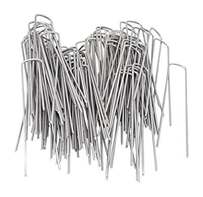 6 Inch 11 Gauge Heavy Duty U Shaped Garden Securing Pegs - Sod Staples For Securing Weed Fabric, Landscape Fabric, Netting, Ground Sheets and Fleece - Garden Spikes
