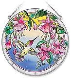 Amia Handpainted Glass Hummingbird and Fuchsia Suncatcher, 6-1/2-Inch