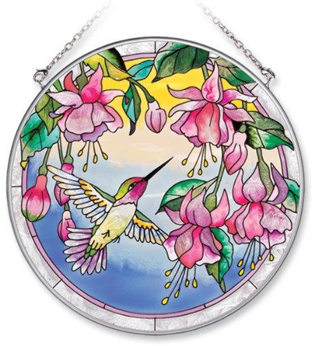 (Amia Handpainted Glass Hummingbird and Fuchsia Suncatcher,)