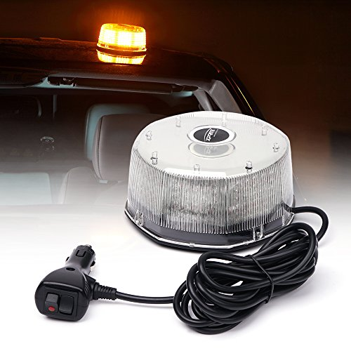 Xprite Sunbeam Series Amber/Yellow Emergency Caution Warning Rotating Revolving Strobe Beacon Light, with Magnetic Mount, 14 Modes 16W 240 LED for 12v Vehicle Truck Snow Plow (Mount Strobe Light)