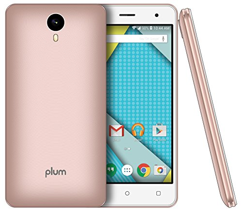 "Plum 5"" Unlocked Smart Cell Phone 4G GSM Android 6.1 Quad Core 8+1 GB Memory 8 MPX Camera Global Ready - Rose Gold"