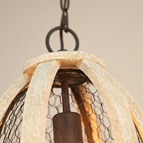 Brinley Home 12 inch Hard Wired Wood Iron Pendant Lamp by Brinley Co (Image #2)