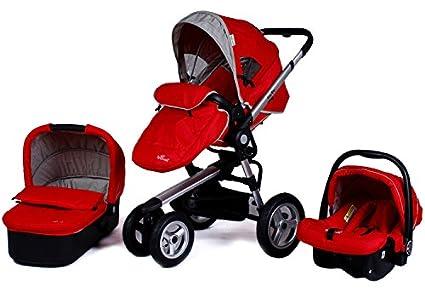 Marco de aluminio Baby Stroller 3 en 1, Cochecito + cesta de dormir + 4