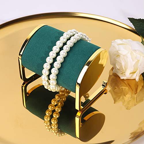 Soporte exhibidor de joyeria metal dorado y terciopelo verde