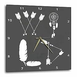 3dRose Janna Salak Designs Boho - WILD Arrow Dreamweaver and Feathers Bohemian Tribal - 10x10 Wall Clock (dpp_283600_1)