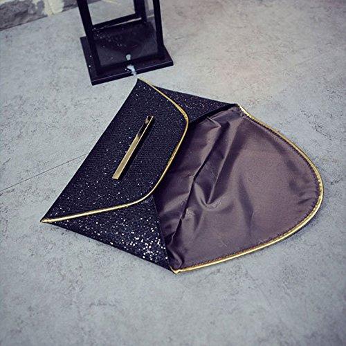 de sobre negro Bolsos del fiesta novia lentejuelas embrague noche Espeedy simple bolsa Mujer boda sobre bolso Moda de qTxAIH8Y