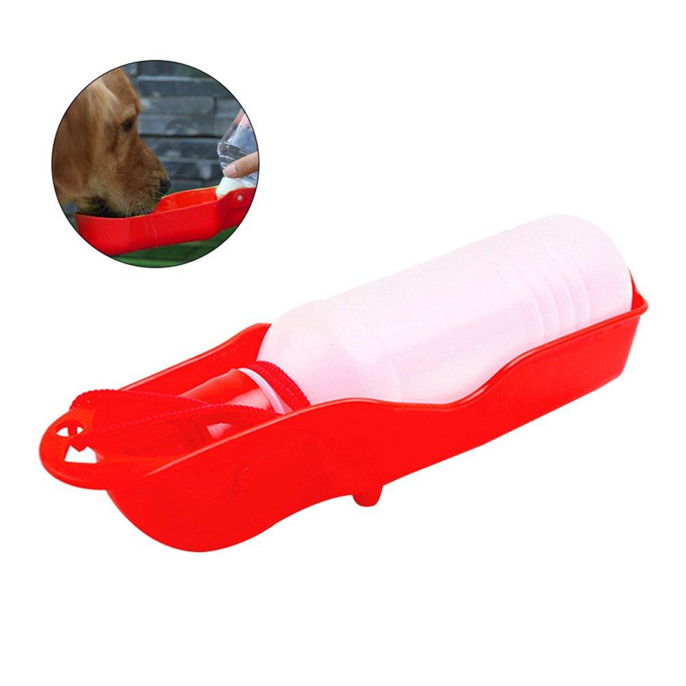 UEETEK Pet Outdoor Travel Portable Folding Drinking Bottle Kettle Dog Water Dispenser 250ml (Red)