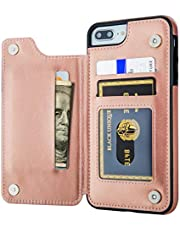 Aoksow iPhone 8 Plus Wallet Case, iPhone 7 Plus Case Wallet Premium PU Leather Card Holder Drop Protection Protective Cover for iPhone 7 Plus 8 Plus
