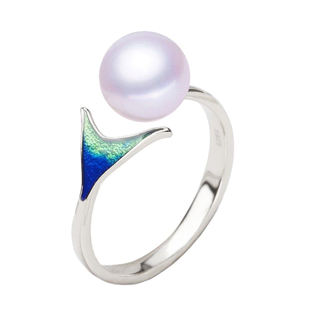 Shysnow Anillo de Sirena de Plata de Ley 925 con Perla de Agua Dulce Natural Blanca, Anillo de Dedo de Apertura XW-JZ-MRY