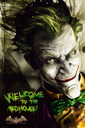 Poster Stop Online Arkham Asylum   Comic Poster  The Joker   Welcome To The Madhouse   Size  24  X 36    By
