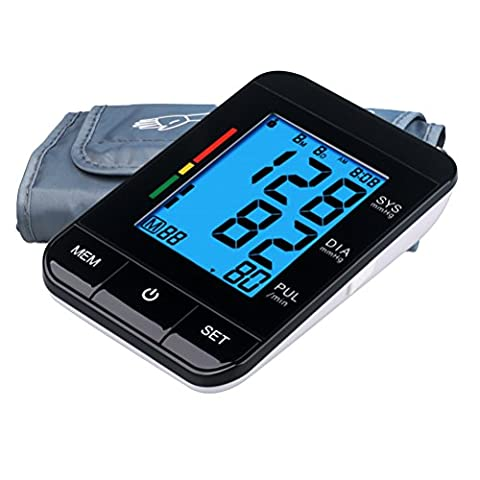 Upper Arm Blood Pressure Monitor with Irregular Heart Beat Detect and FDA Approved, Automatic Digital BP monitor with Backlit,2 Users mode [2017 NEW VERSION] - Digit Finger Pulse Oximeter