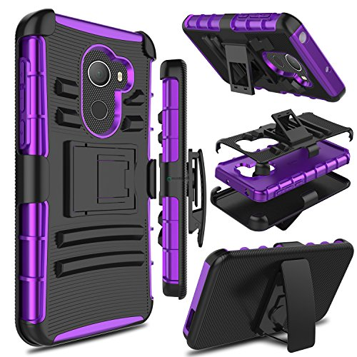 Alcatel A30 Fierce 2017 Phone Case 5.5 Inch, not Tablet Case 8 Inch, Zenic Heavy Duty Shockproof Full-body Protective Case with Swivel Belt Clip and Kickstand for Alcatel A30 Plus(Black/Purple)