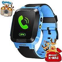 Oriole niños reloj inteligente con 2Vías SIM llamada texto rastreador de GPS padres cámara de control juegos Flash luz de noche Touch antipérdida, SOS, niños Pulsera mejor regalo de año nuevo para niños niñas para iPhone, Android
