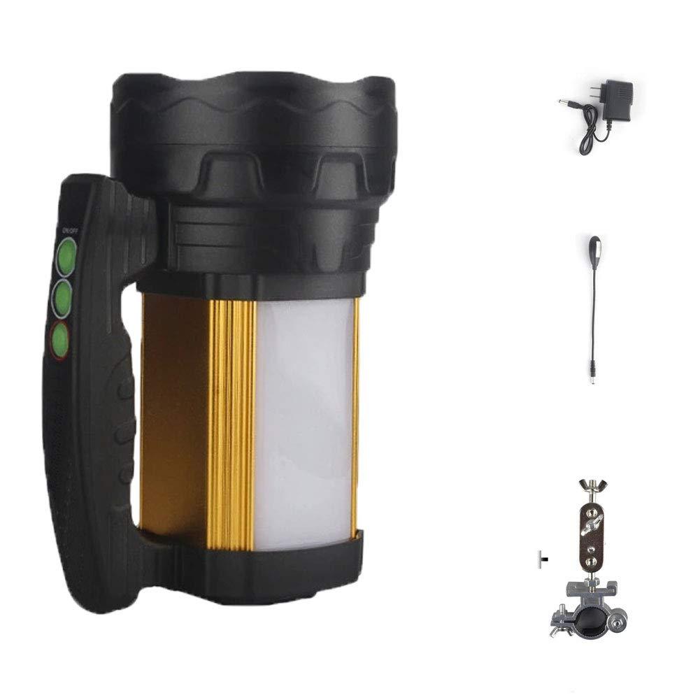 YYBT LED-Suchscheinwerfer, Taschenlampe 21000mah Blendlampe USB-Ladeaufladung mit mobilem Power-Fischer-Set, Laterne + Ladegerät + Angelbadelicht + Angelstuhlhalterung