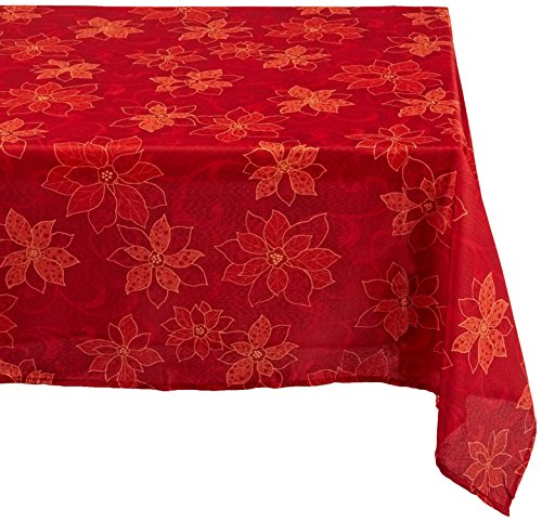 - Benson Mills Poinsettia  Scroll Printed Fabric Tablecloth, 60-Inch-By-120-Inch