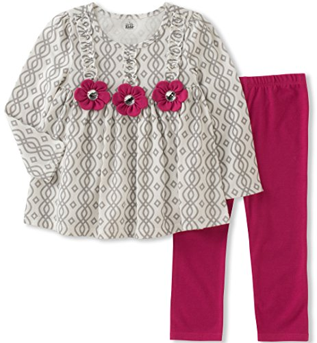 Kids Headquarters Baby Girls' Tunic Legging Set, Cream/Berry, 24M Berry Kids Clothing