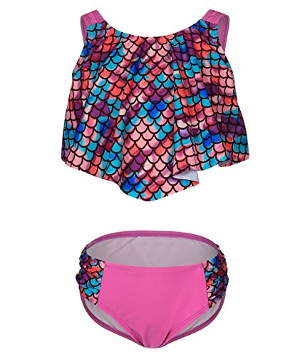 BELLOO Girls Bikini Swimsuit Flower Flounce Two Piece Bathing Suit, Purple, 7-8 -