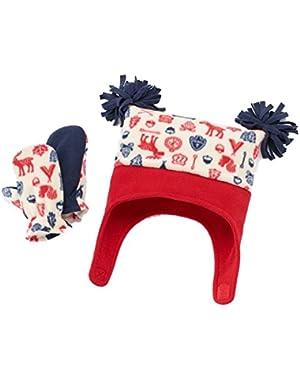 Infant & Toddler Boys RWB Fleece Hat & Mittens Set
