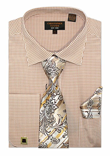(Christopher Tanner Men's Regular Fit Checks Pattern Dress Shirts with Tie/Hanky Cufflinks Combo Color Brown Size 17.5