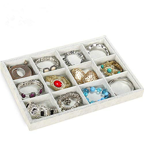 Stylifing Grey Velvet 12 Grid Jewelry Tray Showcase Removable Display Storage Box for Girls Women