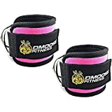 DMoose Fitness Ankle Straps Cable Machines - Stainless Steel Double D-Ring, Adjustable Comfort fit Neoprene, Glute & Leg Workouts Women & Men