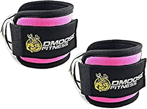 DMoose Fitness Ankle Straps for Cable Machines - Stainless Steel Double D-Ring, Adjustable Comfort fit Neoprene, Glute & Leg Workouts - for Men & Women (Pink, Single)