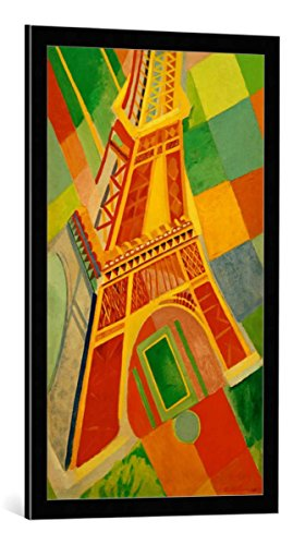 (kunst für alle Framed Art Print: Robert Delaunay Eiffel Tower I - Decorative Fine Art Poster, Picture with Frame, 19.7x33.5 inch / 50x85 cm, Black/Edge Grey)