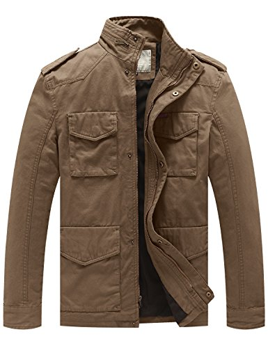 WenVen Men's Stand Collar Cotton Field Jacket (Khaki, L)