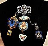 Vintage Sterling CHERUB Chatelaine w/ Blue Cherub Perfume Bottle, Hand Painted Porcelain Cherub, Blue Art Glass Cherub w/ Locket. One of a Kind!