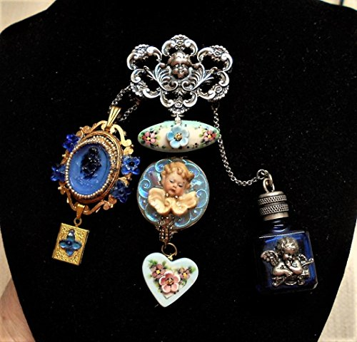Vintage Sterling CHERUB Chatelaine w/ Blue Cherub Perfume Bottle, Hand Painted Porcelain Cherub, Blue Art Glass Cherub w/ Locket. One of a Kind! by EMENOW
