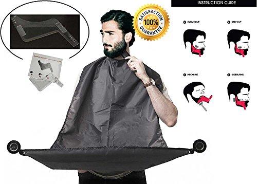 Delantal de Peluquero para Atrapar Recortes de Barba   Incluye Herramienta para Diseñar la Barba