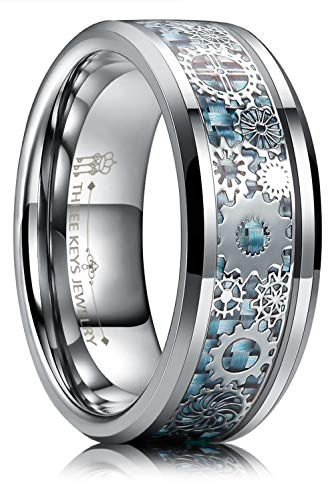 Three Keys Jewelry 8mm Tungsten Rings Silver Punk Seal Gear Mechanical Light Blue Carbon Fiber with Metal Foil Inlay Wedding Bands for Men Size 9 (Mens 18 Carat White Gold Wedding Rings)