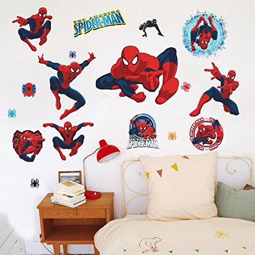 Fange DIY Removable Cartoon Spiderman Art Mural Vinyl Waterproof Wall Stickers Kids Room Decor Nursery Decal Sticker 27.5''x19.6''