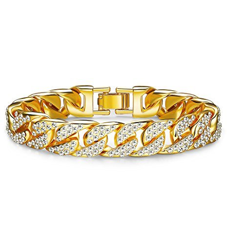 Thunaraz Mens Womens Chain Hiphop Curb Bracelet Cuban Silver Gold Plated Bracelet With Clear Rhinestones 8.5-9.5 Inch