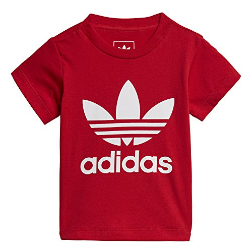adidas Originals Baby Boys Originals Trefoil Tee, Scarlet/White/Infant, 4T