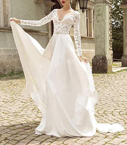 Sheer Lace Applique Long Sleeve Wedding Dress V Neck: Women's V-Neck A-line Lace Applique Long Sleeve Modest