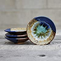 GEODE RING DISH: Individual Geode Ring Dish in BLUE & COPPER Fused Glass Dish, Trinket Dish, Soap Dish, Crackle Glass, Candle Holder, Dock 6 Pottery, Kerry Brooks Pottery