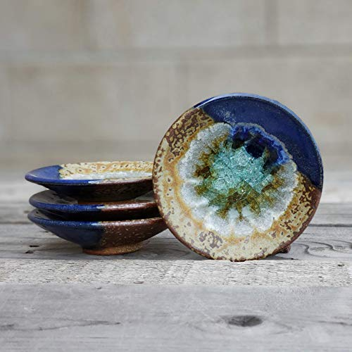 Blue Fused Ring Glass - GEODE RING DISH: Individual Geode Ring Dish in BLUE & COPPER Fused Glass Dish, Trinket Dish, Soap Dish, Crackle Glass, Candle Holder, Dock 6 Pottery, Kerry Brooks Pottery