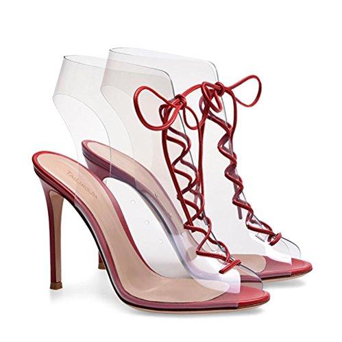 Pvc Vestito Pompe Pink Donna red 44 Cinghie Bocca Sandali Zhang8 Trasparente Di Pesce T5xf8aWwq