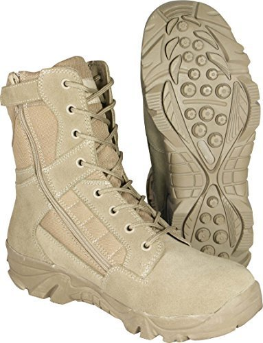 para Hombre Tactical Cremallera Lateral Desierto ejé rcito Selva Combate Militar Patrulla marró n Trabajo Ligero Suede Leather Boot Mil-Com