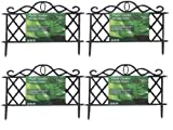 SET OF 4 BLACK PLASTIC GARDEN BORDER FENCE EDGING LATTICE FENCING PATH ORNAMENTAL