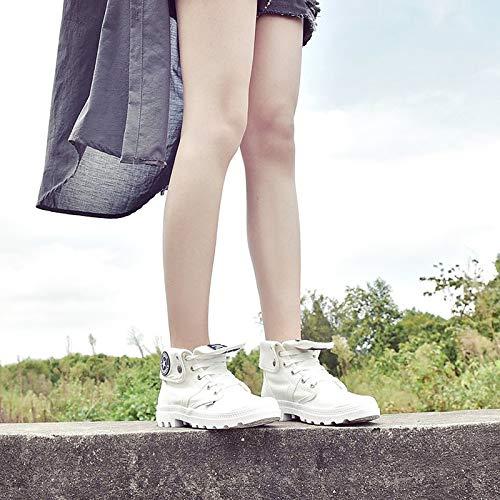 ZHZNVX Damenmode Stiefel Canvas Herbst Herbst Herbst Casual Stiefel Low Heel Mid-Calf Stiefel Weiß Schwarz 2931a3