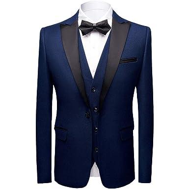 répliques vente chaude authentique économiser jusqu'à 80% Sliktaa Costume Homme 3 Pièces Formel Slim Fit Classique Smoking de Mariage  Business Bal Veste Gilet et Pantalon en 6 Couleurs