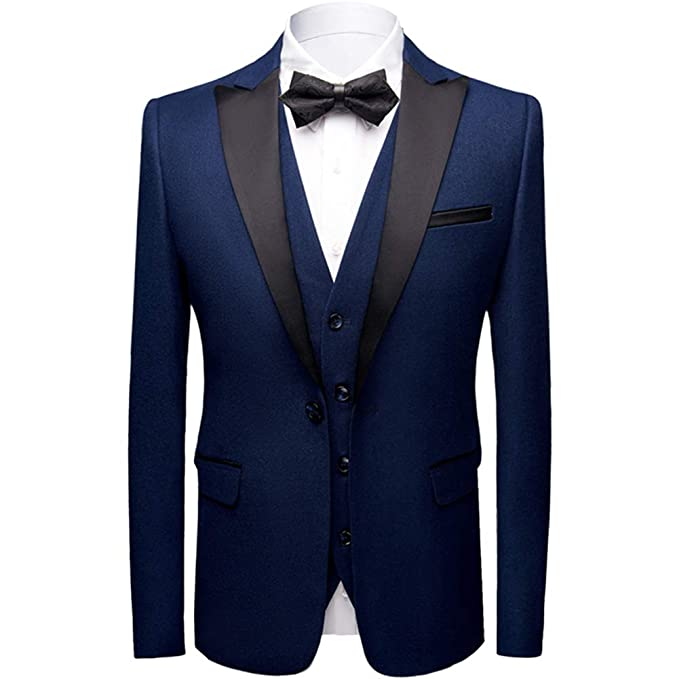 Men/'s Slim Fit three Piece Tuxedo Suit Set Shawl Lapel One Button Wedding Tux