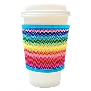 Joe Jacket Neoprene Drink Insulator, Coffee Sleeve, Cup Grip, Rainbow Chevron (many colors avail.)