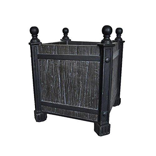 MPG 17.5 in. sq. Black Composite Wood/Metal Look Planter ()