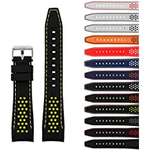 StrapsCo Perforated Rubber Rally Racing Watch Band Strap with Curved Ends - 20mm 22mm 24mm