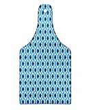 Lunarable Blue Floral Cutting Board, Vintage Chinese Waves Pattern Traditional Antique Mosaic Tile Motif, Decorative Tempered Glass Cutting and Serving Board, Wine Bottle Shape, Indigo Blue and White
