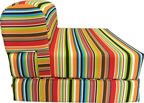 D D Futon Furniture Multi Colors Stripes Sleeper Chair Folding Foam Bed Sized 6 x 32 x 70