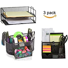 OfficeMate Classic Black Mesh 2 Tier Stackable Letter Tray Desk Organizer with our Caddy Desk Pen and Pencil Organizer - Perfect for Office Desk and Home Office (3 Pack Office Organizer)